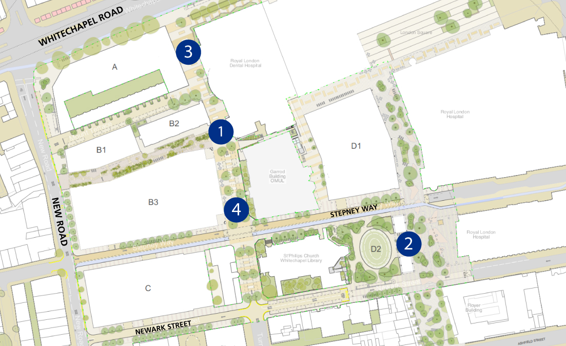 Public Realm Map with label 1, 2, 3 and 4 which are decribe in the paragraphs below.
