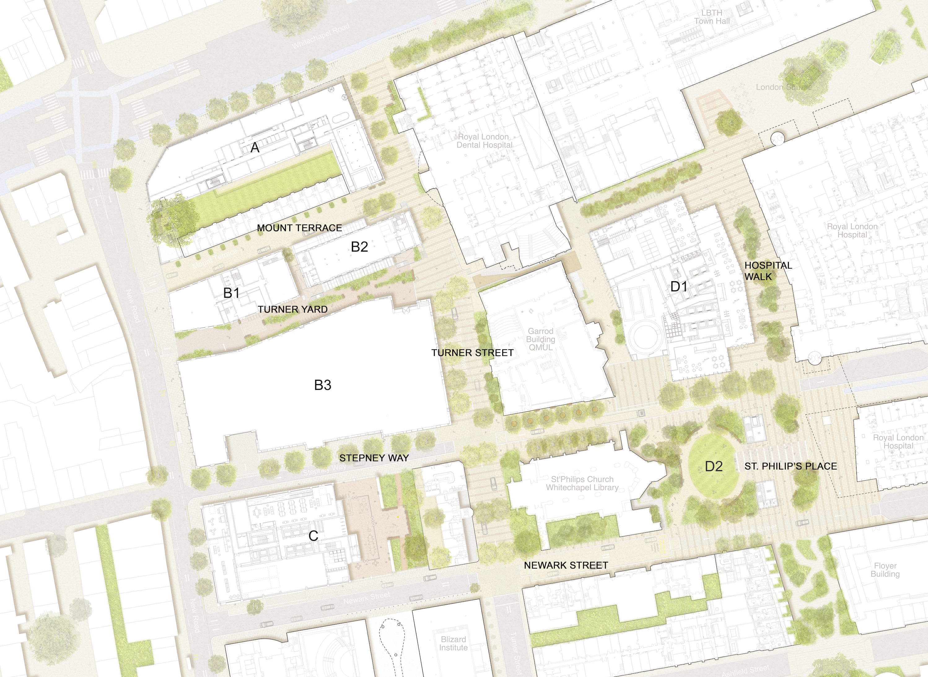 The five sites are highlighted above in blue, with other key buildings nearby outlined.